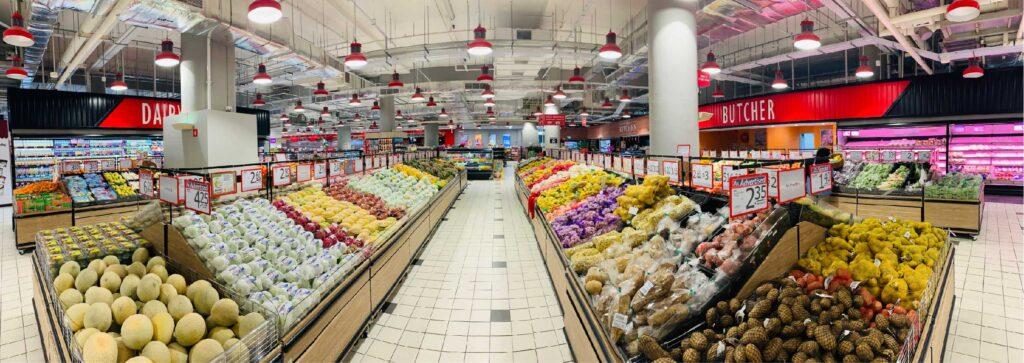 supermarkt afdeling groente en fruit